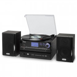 Jensen 3 Speed Stereo Turntable CD Recording System with Cassette, Radio and MP3 Encoding