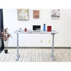 MotionWise SDD60G Manager Series Dual Motorized Rising Sit/Stand Desk for Home Or Office, Dove Gray