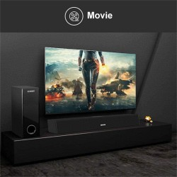 150w 2.1 CH Sound Bar with Subwoofer Bluetooth 5.0 Enabled Superior Surround Sound System, Remote Control Home Theater