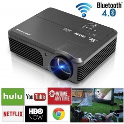 WiFi Projectors with Bluetooth 4400 Lumens HD LCD LED 1080P Support Home Theater Projector Indoor Outdoor Movie Gaming with Android iOS Speakers 2 HDMI 2 USB VGA RCA Audio AV Port