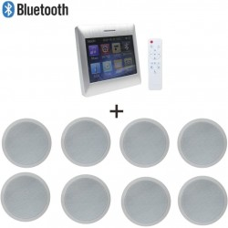15 watt Touch Screen Wall Mounted Amplifier with 8 pcs 6 inch Full Range in Ceiling Speaker for Home Theater Audio System
